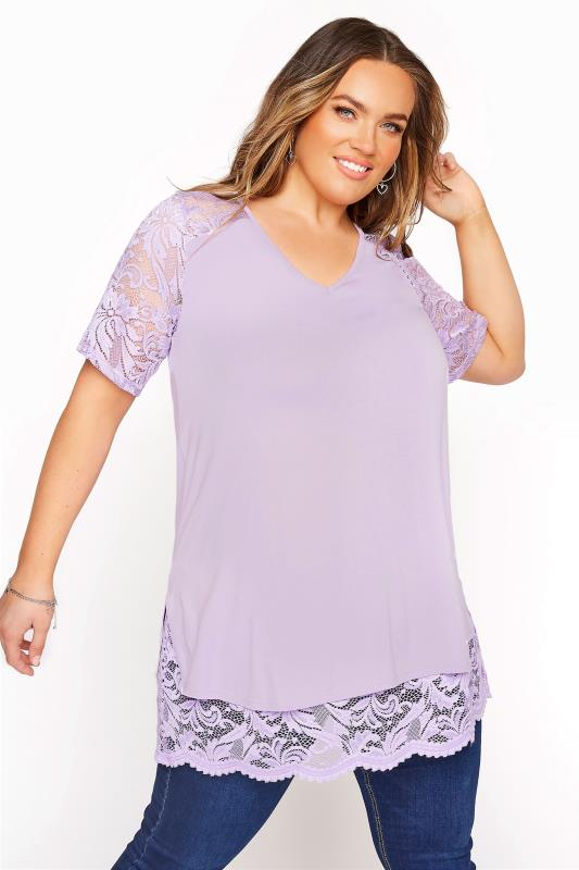 Plus Size  YOURS LONDON Lilac Lace Overlay Top