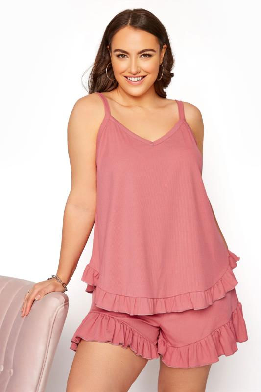 Plus Size  LIMITED COLLECTION Pink Frill Ribbed Pyjama Top
