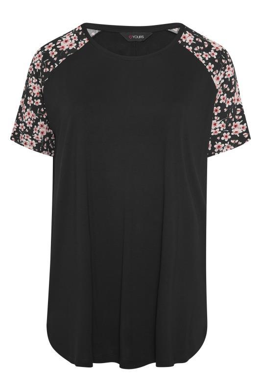 Black Raglan Floral Sleeve T-Shirt_F.jpg