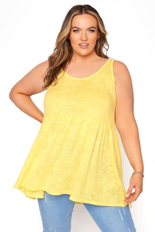 Plus Size  Yellow Peplum Burnout Vest