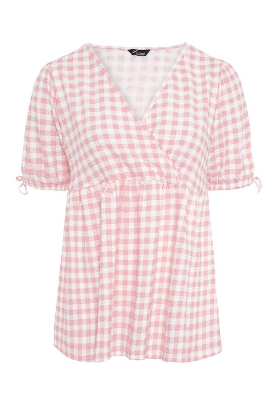 LIMITED COLLECTION Pink Gingham Wrap Front Smock Top_F.jpg