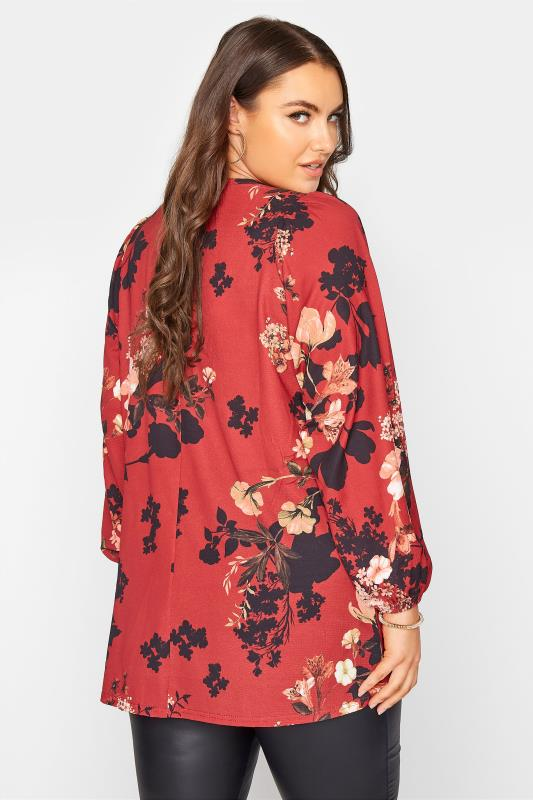 YOURS LONDON Red Floral Balloon Sleeve Blouse_C.jpg