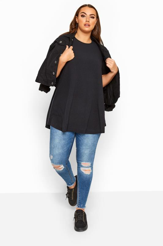 LIMITED COLLECTION Black Ribbed Swing T-Shirt_B.jpg