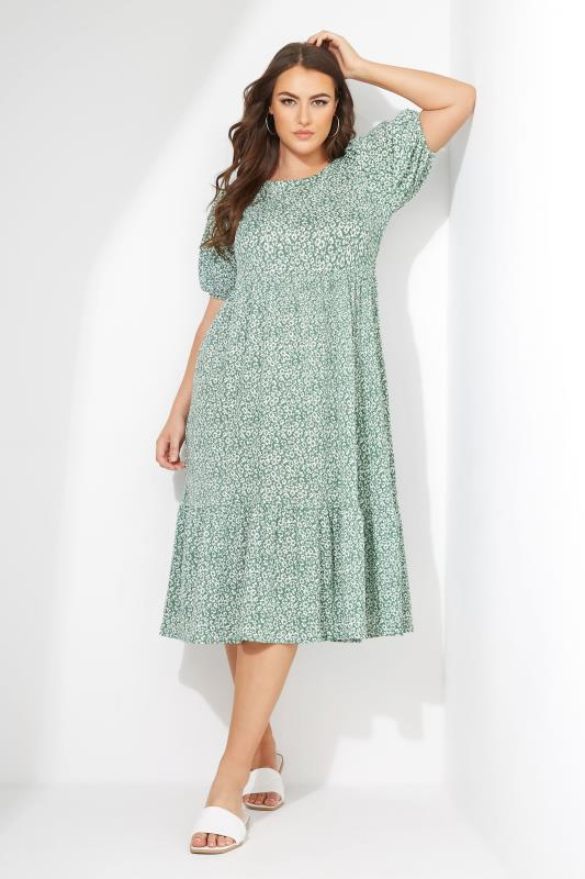 Sage Green Floral Frill Hem Midi Dress_L.jpg