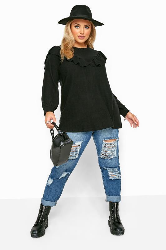 Black Marl Frill Knitted Jumper
