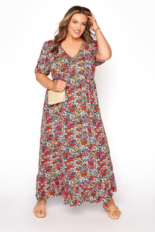 YOURS LONDON Multicoloured Floral V-Neck Frill Hem Maxi Dress
