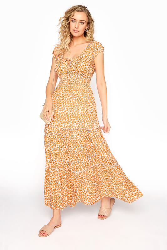 LTS Orange Tiered Shirred Maxi Dress
