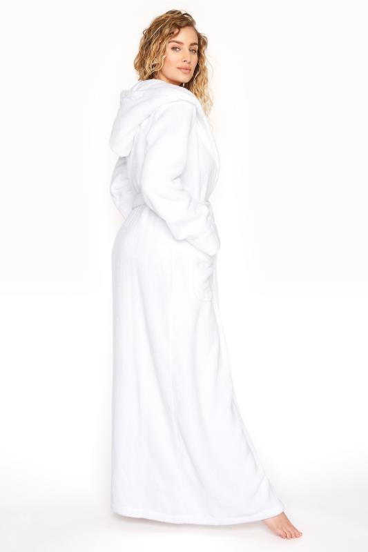 Tall  White Cotton Towelling Maxi Robe