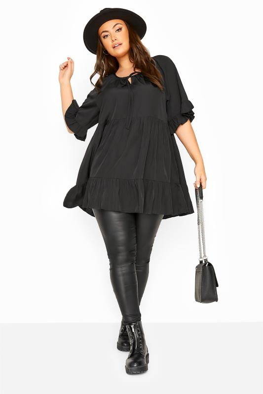 LIMITED COLLECTION Black Smock Tiered Blouse