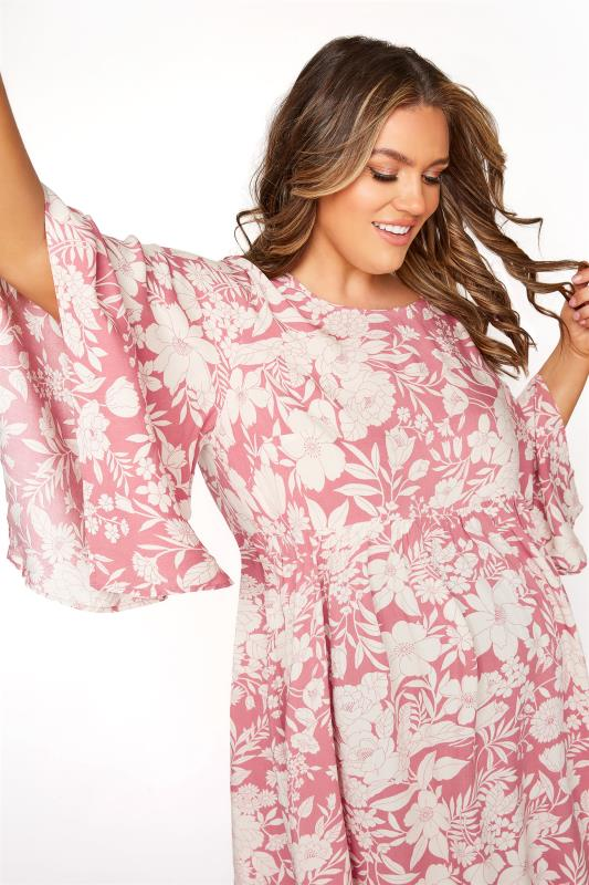 BUMP IT UP MATERNITY Pink Floral Smock Tunic_D.jpg