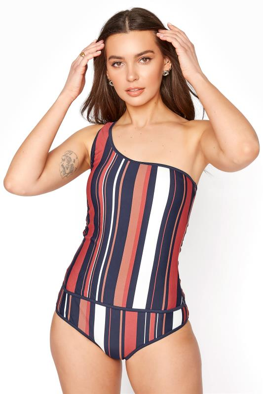 Multi Stripe One Shoulder Tankini Set