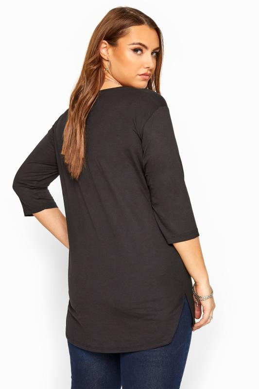 Black 3/4 Length Sleeve Top