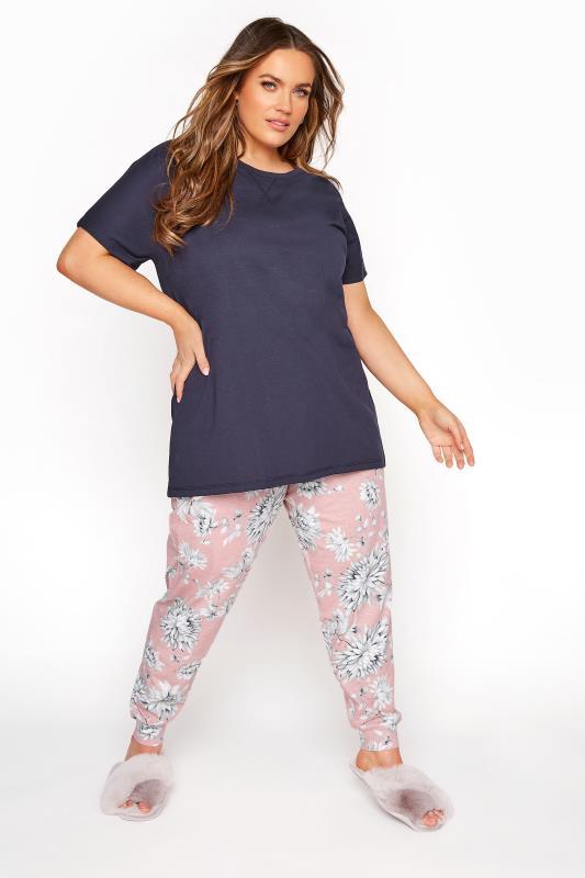 Plus Size  Navy Blue Summer Floral Pyjama Set