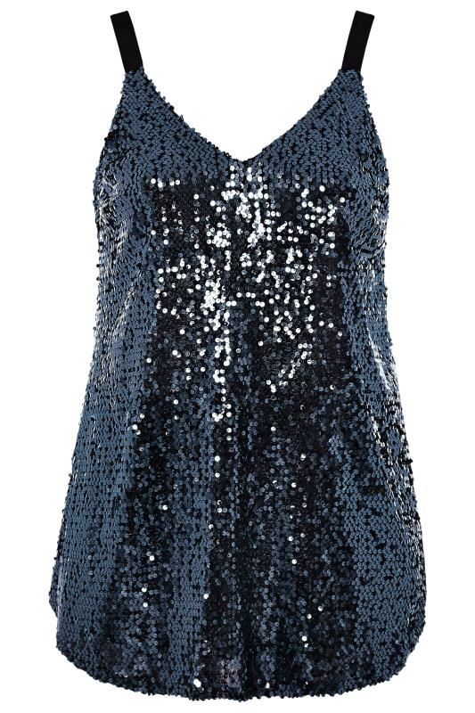 YOURS LONDON Navy Sequin Cami Top