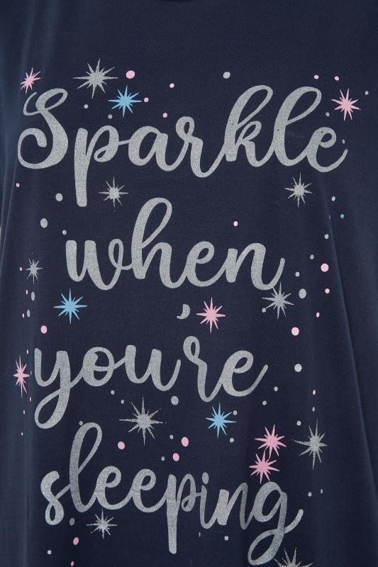 Navy 'Sparkle When You're Sleeping' Slogan Cotton Nightdress_S.jpg