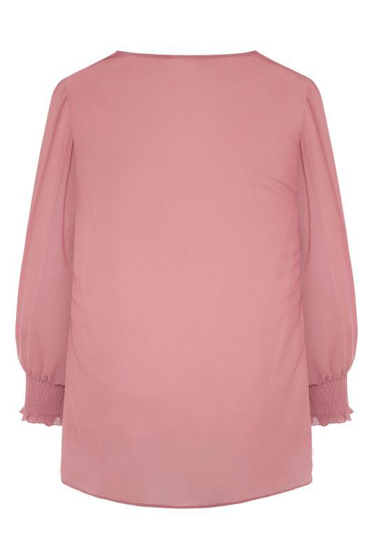 YOURS LONDON Pink Balloon Sleeve Shirt_BK.jpg