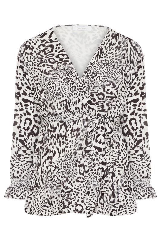 YOURS LONDON White Leopard Print Wrap Top_F.jpg