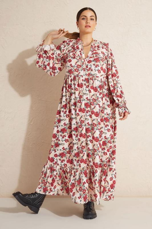 THE LIMITED EDIT Cream Floral Frill Smock Maxi Dress_L.jpg