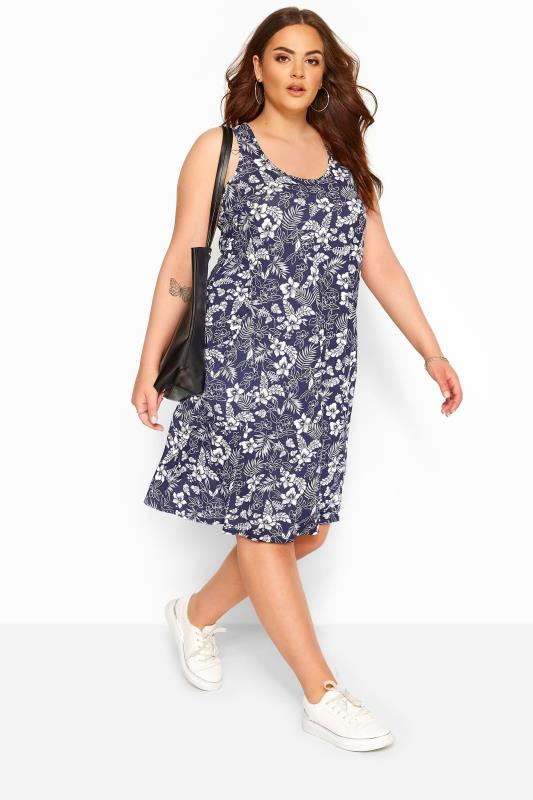 Plus Size Jersey Dresses Blue Tropical Sleeveless Drape Pocket Dress