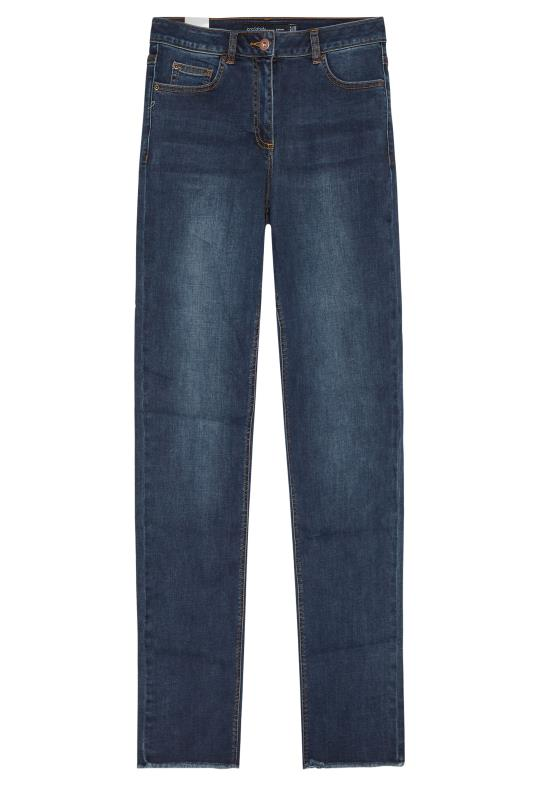 Blue Relaxed Straight Mid Rise Jeans