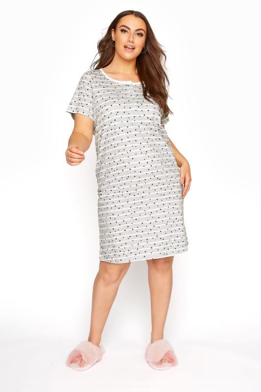 Grey Stripe Star Print Nightdress