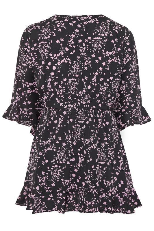 Black & Lilac Floral Wrap Top