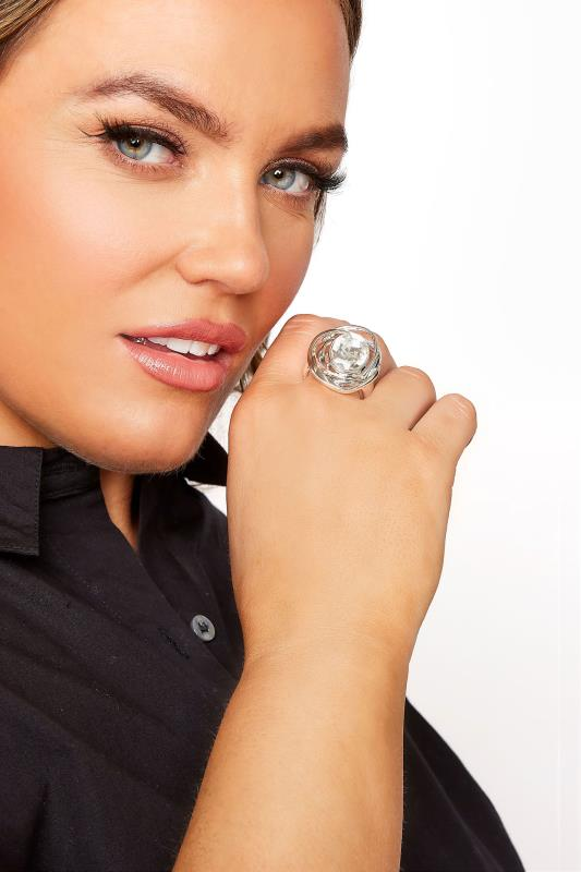 Plus Size  Silver Diamante Stretch Ring