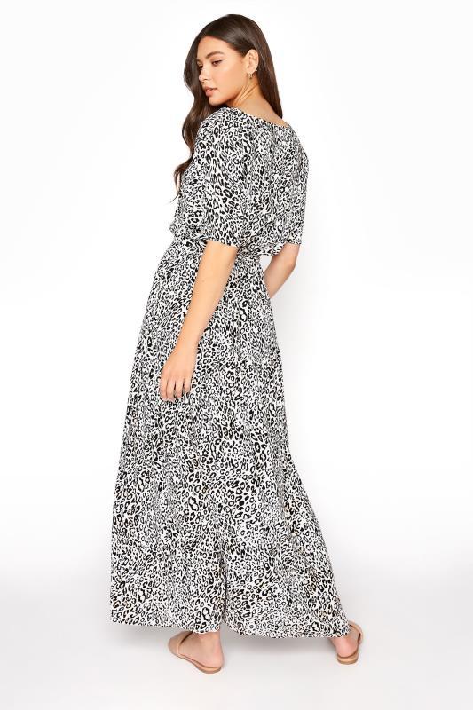 LTS White Animal Print Gathered Tie Front Maxi Dress_C.jpg