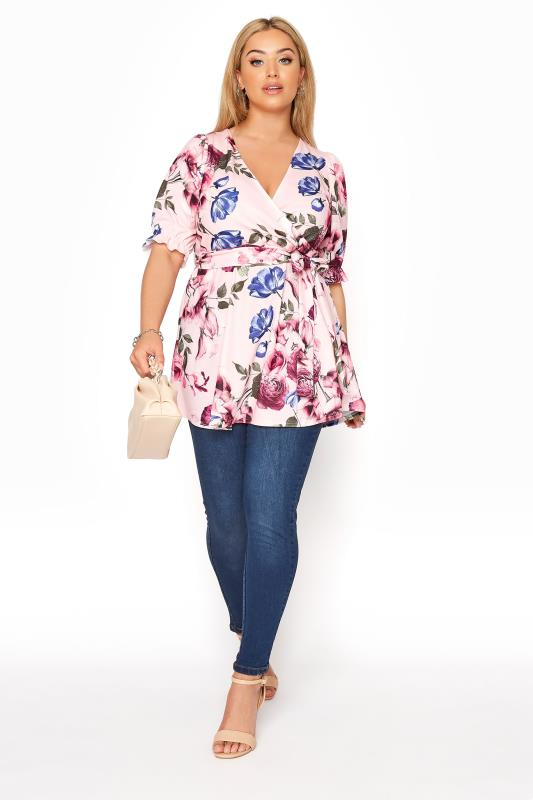 YOURS LONDON Pink Floral Puff Sleeve Wrap Top_B.jpg