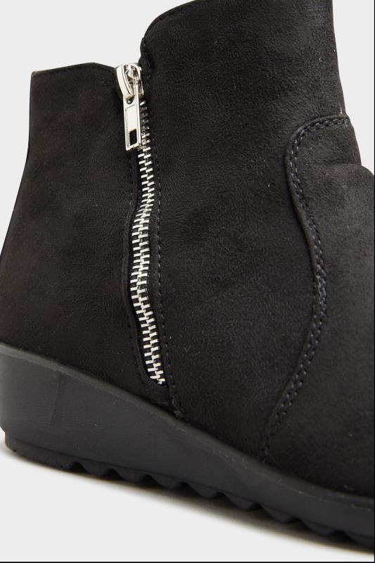Black Vegan Suede Wedge Heel Ankle Boots In Extra Wide Fit_D.jpg