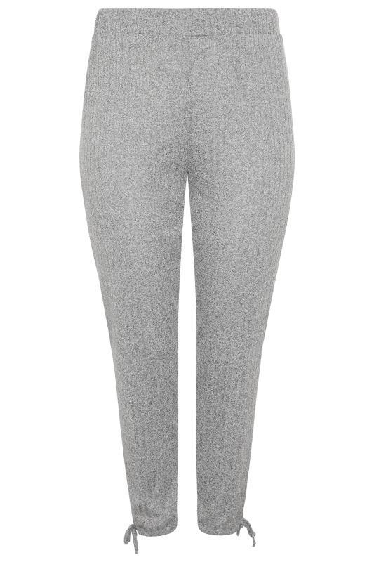 Grey Ribbed Tie Hem Joggers