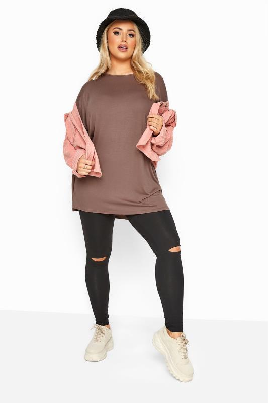 Mocha Brown Jersey Oversized T-Shirt