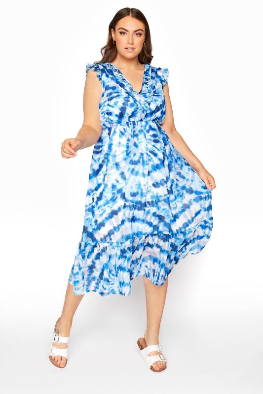 Plus Size  Blue Tie Dye Maxi Dress
