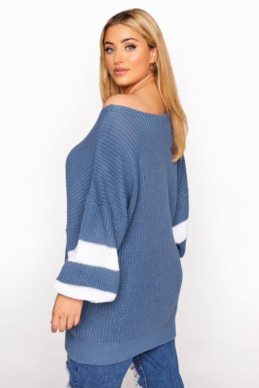 Blue Varsity Stripe Knitted Jumper_C.jpg