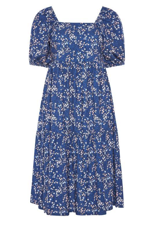 Blue Ditsy Print Square Neck Smock Midaxi Dress_F.jpg