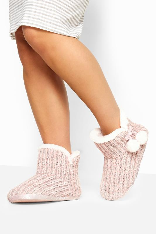 Wide Fit Slippers Pink Metallic Chenille Knitted Pom Pom Slipper Boots In Wide Fit