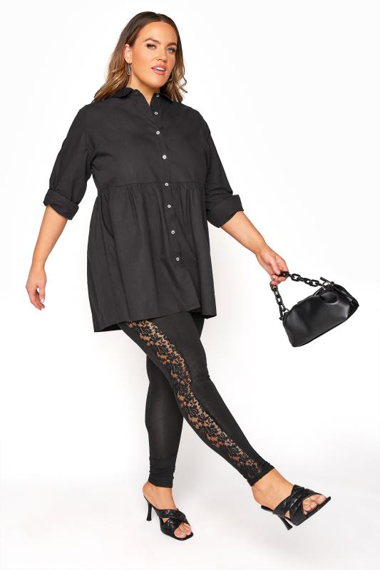 YOURS LONDON Black Panelled Floral Lace Leggings