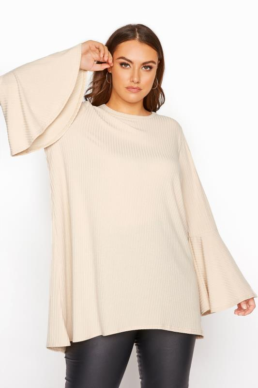 Plus Size  LIMITED COLLECTION Nude Ribbed Flare Sleeve Top