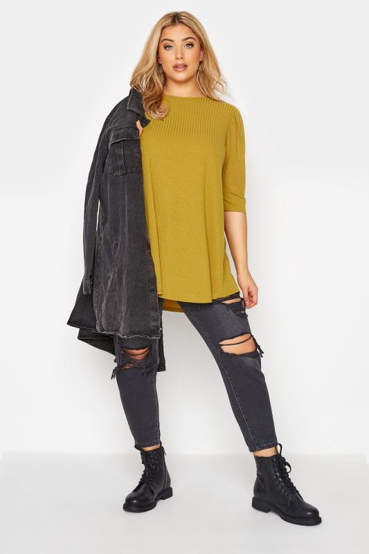 LIMITED COLLECTION Mustard Yellow Puff Sleeve Ribbed Top_B.jpg