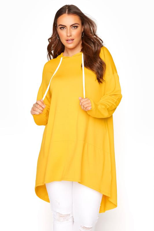 Plus Size  Bright Yellow Tunic Hoodie