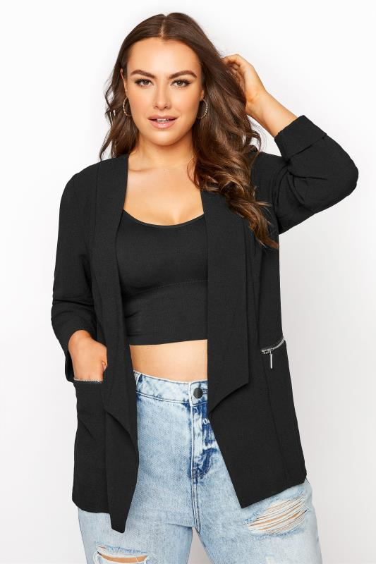 Plus Size Blazers Black Bubble Crepe Blazer