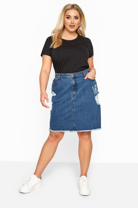 Plus Size Denim Skirts Blue Distressed Denim Skirt