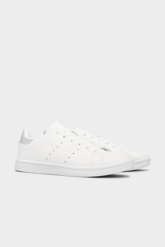 LIMITED COLLECTION White & Silver Vegan Faux Leather Trainers In Wide Fit_B.jpg