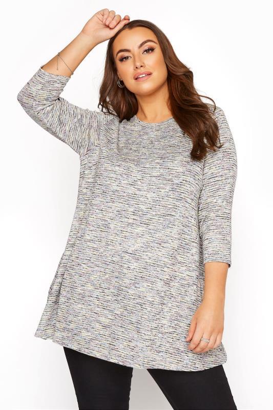Plus Size  Multi Narrow Striped Half Sleeve Top