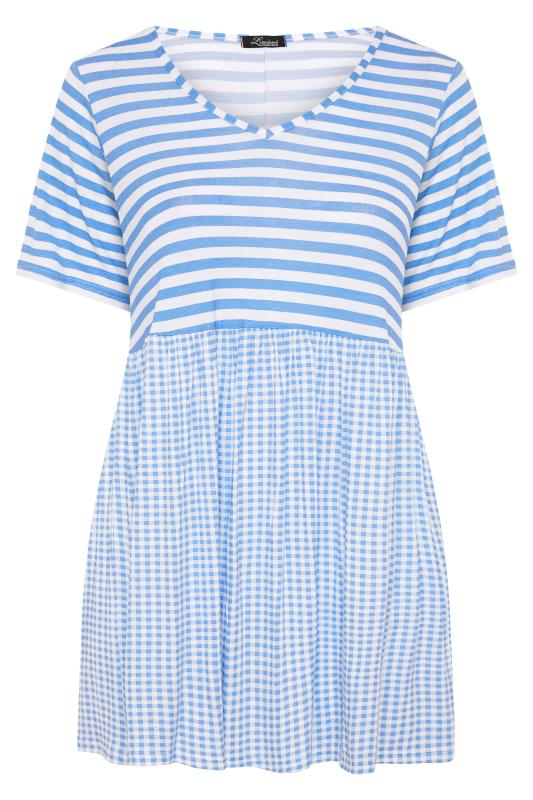 LIMITED COLLECTION Pale Blue Gingham Stripe Mix Top_F.jpg