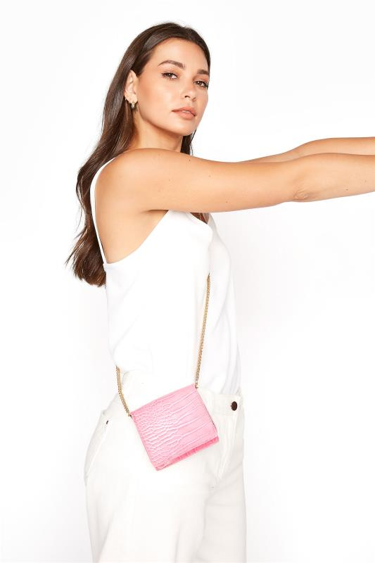 Yours Hot Pink Croc Chain Crossbody Bag