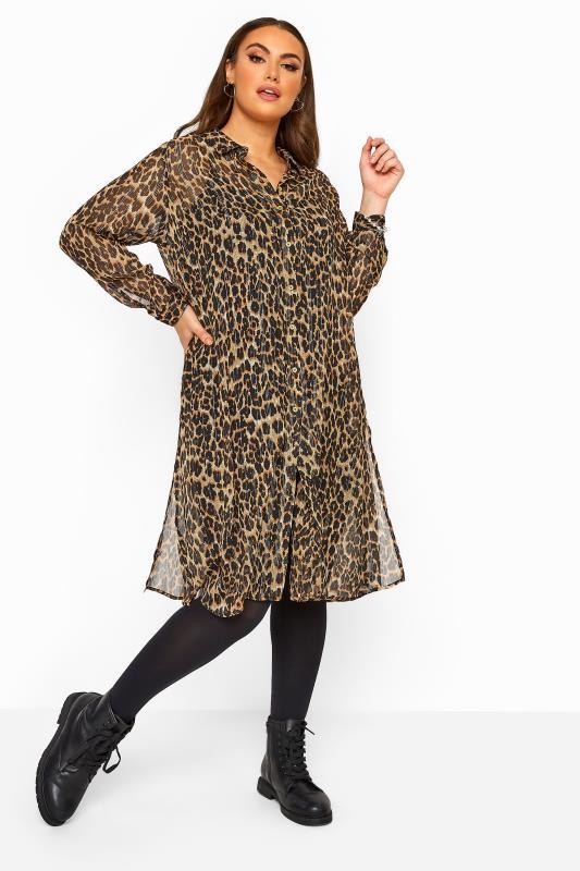 Plus Size  Brown Metallic Animal Print Chiffon Shirt Dress