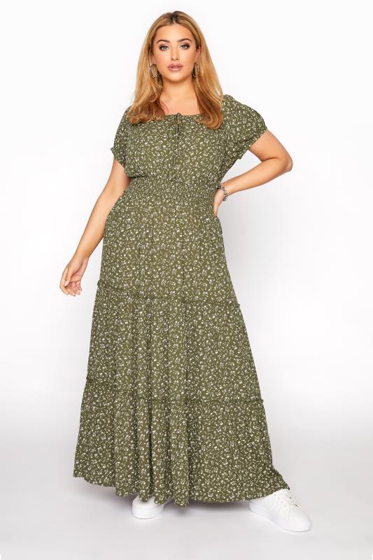 Khaki Ditsy Puff Sleeve Boho Smock Maxi Dress_A.jpg