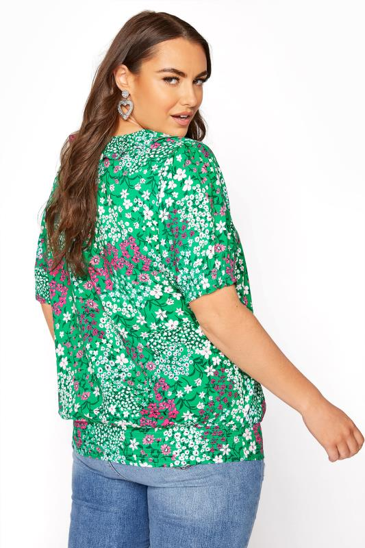 YOURS LONDON Green Floral Shirred Frill Top_C.jpg