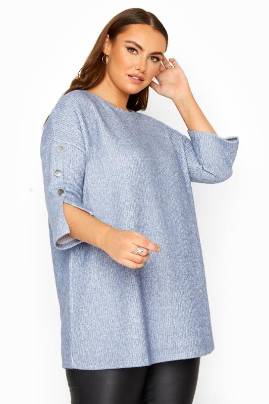 Plus Size  Blue Mock Button Soft Knitted Top